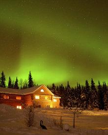 Aurora Over A Taste of Alaska Lodge