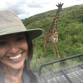A giraffe selfie in Arusha National Park