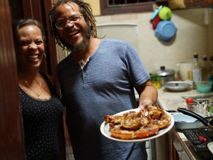 Our guide David & his sister enjoy sharing their food and culture with us!