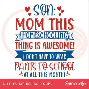Son: Mom this homeschooling thing is awesome! I don't have to wear pants to school at all this month!