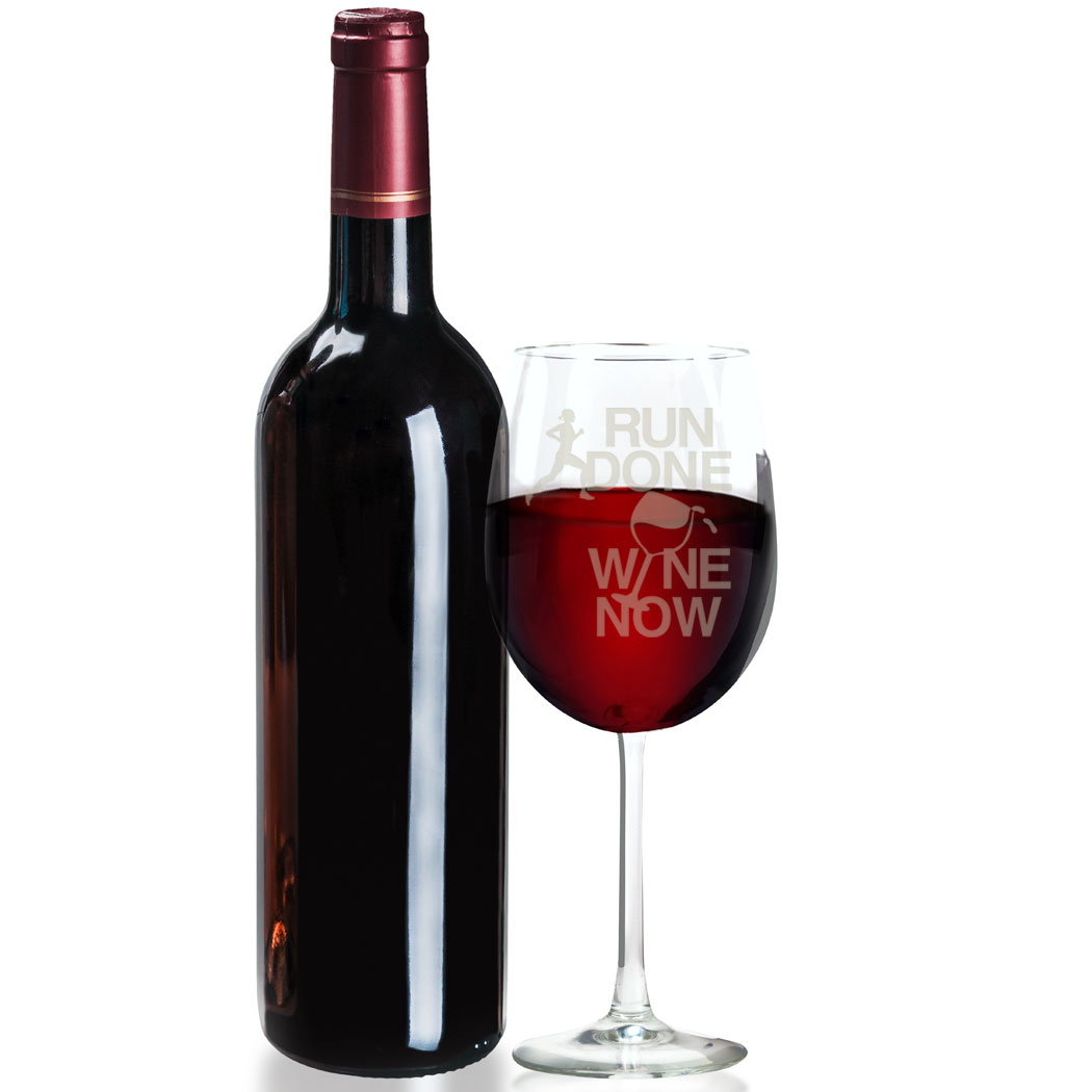 Run Done Wine Now Wine Glass  Engraved Wine Glass  Wine Glass for Runners