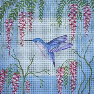 Blue Hummingbird & Wisteria