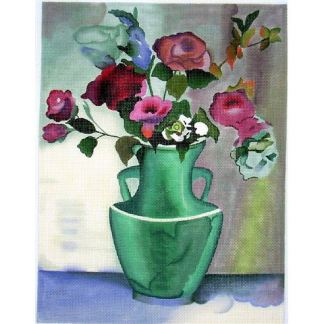 Teal Vase with Roses