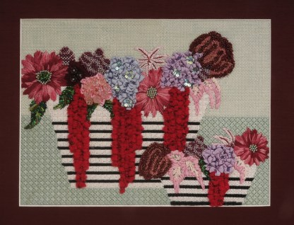 Flowers with Striped vase