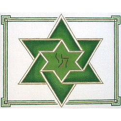 Double Star of David Tallit in Green