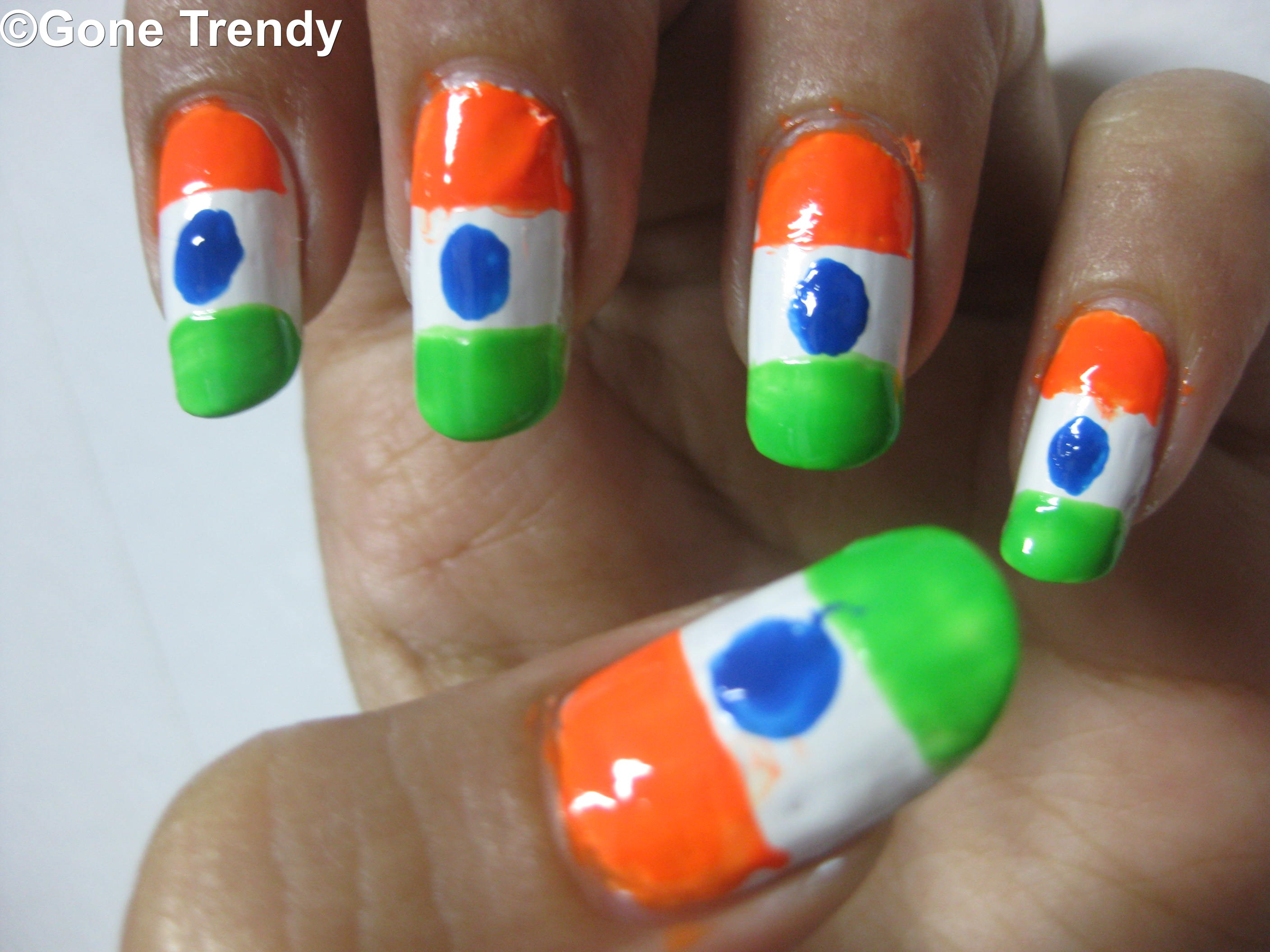 Indian Flag Nail Art Independence Special