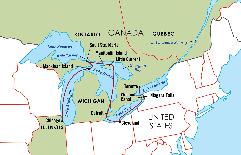 Majestic Great Lakes Cruise Map
