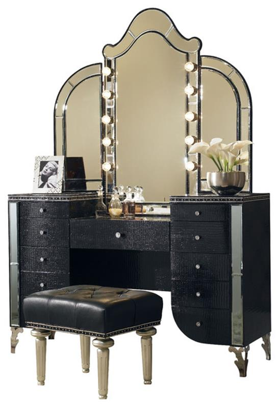 Bedroom Vanity Set With Lights Around Mirror 2