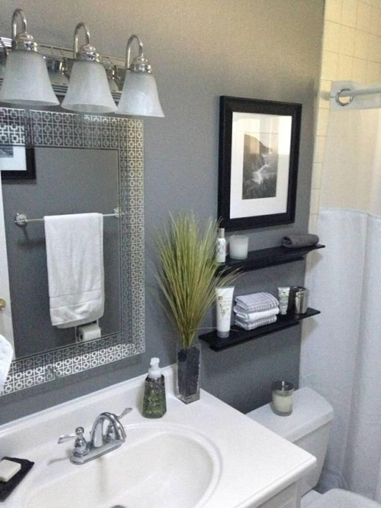 40 perfect gray half bathroom decorating ideas on a budget gongetech for Bathroom decor ideas accessories