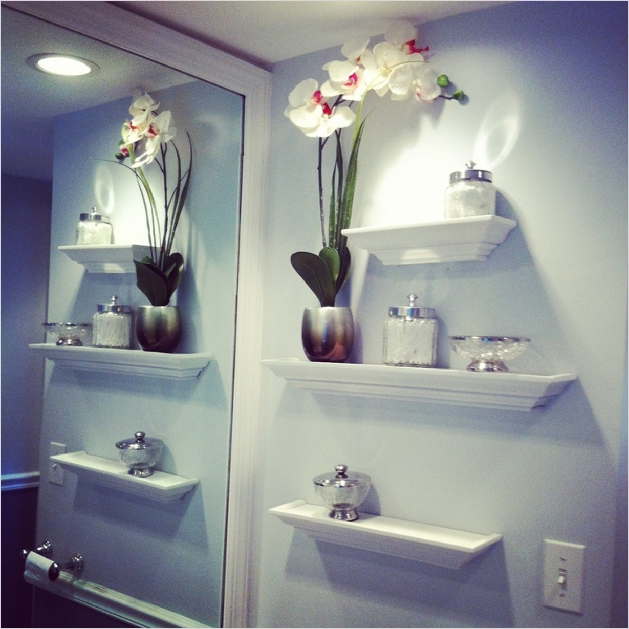 Bathroom Shelves Decorating Ideas 17 Beautiful Bathroom Wall Decor Using Sweet Flower Vase Decoration Over Wall Mounted Shelves 6
