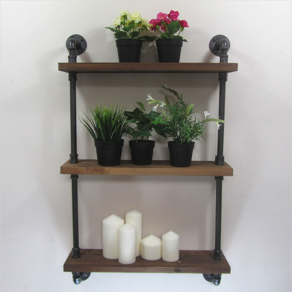 45 Creative Rustic Wall Mounted Bookshelves 91 Urban Retro Industrial Iron Pipe Shelving Shelves Natural Wood 3 Tiers Shelf 6