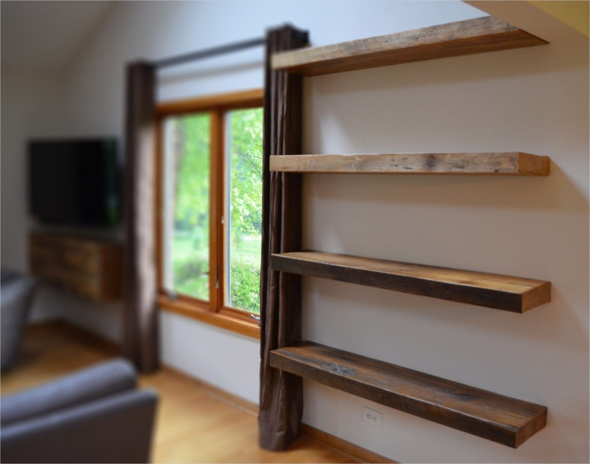 45 Creative Rustic Wall Mounted Bookshelves 75 Rustic Wood Bookshelves 1