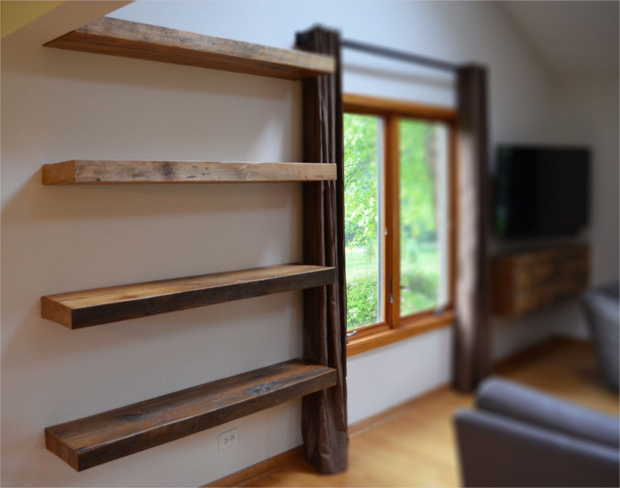 45 Creative Rustic Wall Mounted Bookshelves 84 Rustic Floating Shelves Beautiful Shelf at Narrow Room 4