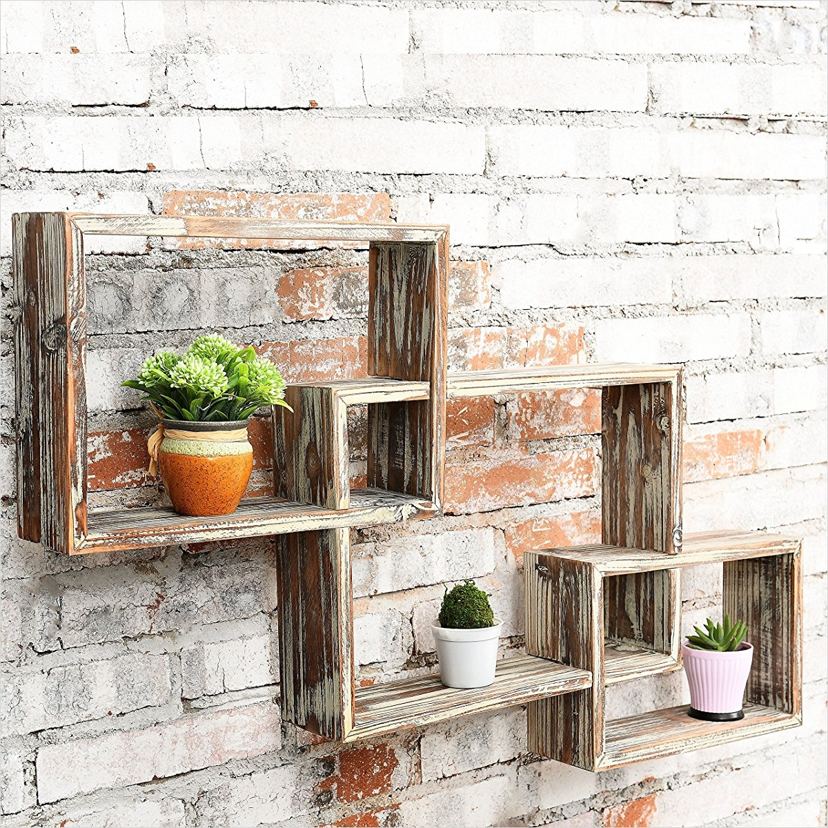 45 Creative Rustic Wall Mounted Bookshelves 49 Country Rustic 3 Tier Floating Box Shelves Decorative Wood Wall Mounted Display Shelf Brown 5