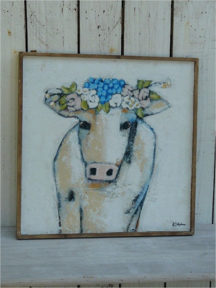 44 Gorgeous Farmhouse Wall Decor 96 Cow W Flowers Framed Canvas Picture Primitive Farmhouse Country Home Wall Decor 1
