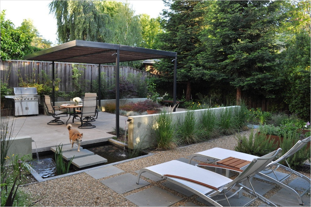 45 Perfect Backyard Bbq Landscaping Ideas 16 Water Features for Backyard Patio Modern with Barbecue Bridge Cement Chaise 7