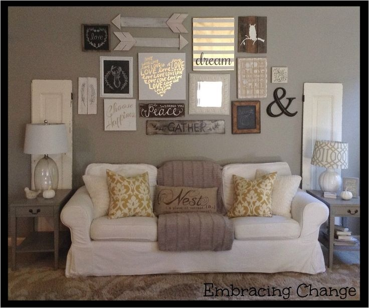 40 Creative Ideas Wall Decor for Living Room 27 Living Room Decor Rustic Farmhouse Style Rustic Taller Wall Over sofa 7