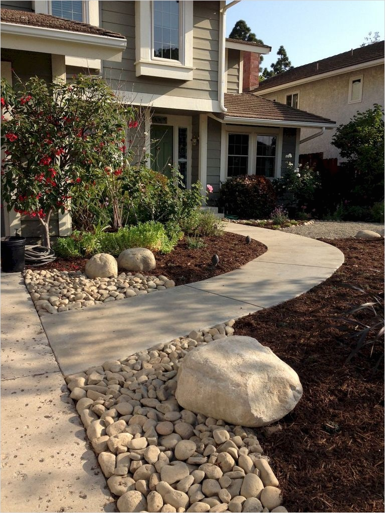 35 Perfect Front Yard Landscaping Ideas with Rocks 75