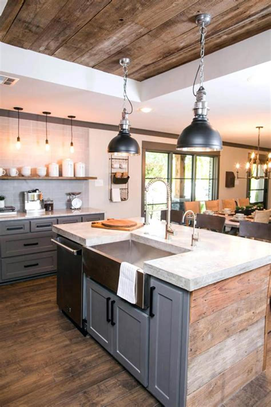 50 Inspiring Farmhouse Style Kitchen Lighting Fixtures Ideas 38