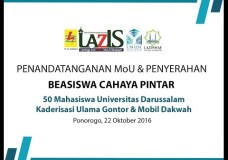 Penyerahan 50 Beasiswa Laziswaf PLN ke UNIDA Gontor