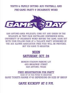 ACU gameday flyer