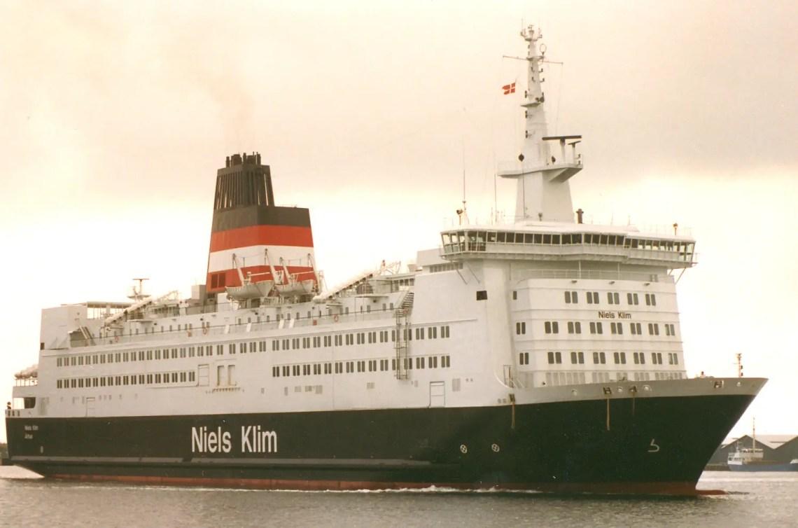 M/S NIELS KLIM der i 1986-91 sejlede på ruten Kalundborg - Århus sammen med søsterskibet M/S PEDER PAARS. Billedet er taget den 16. august 1987.