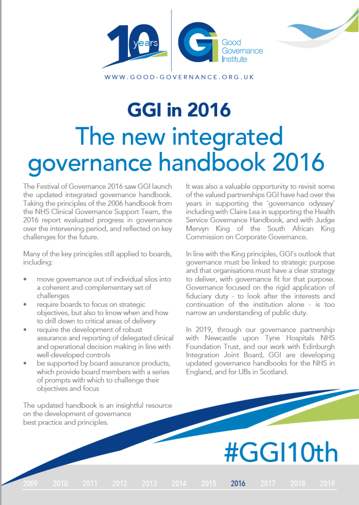 GGI10th - GGI in 2016 - The new integrated governance handbook