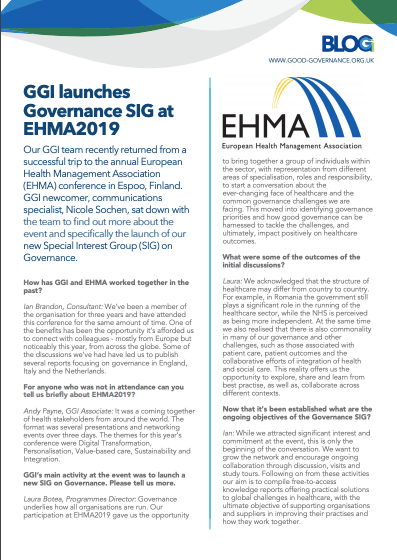 GGI EHMA Special Interest Group on Governance