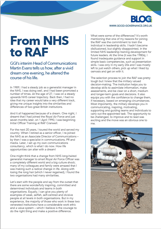 Good Governance Institute - Blog NHS RAF Martin Evans