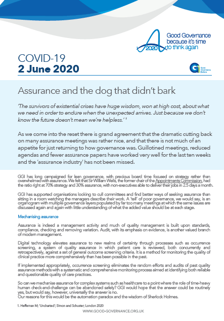 Assurance and the dog that didn't bark
