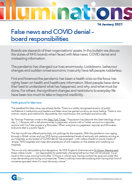 False news and COVID denial – board responsibilities