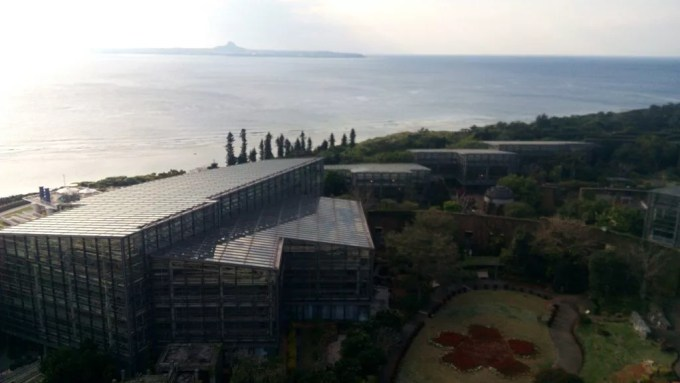The view of the beautiful ocean in Motobu town seen from the distance deck