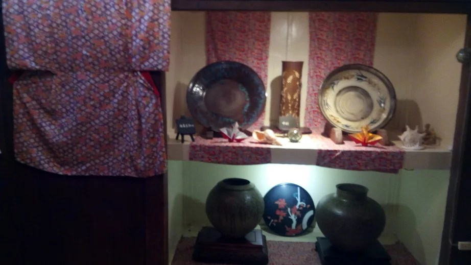 Kimonos and dishes adorned in the store