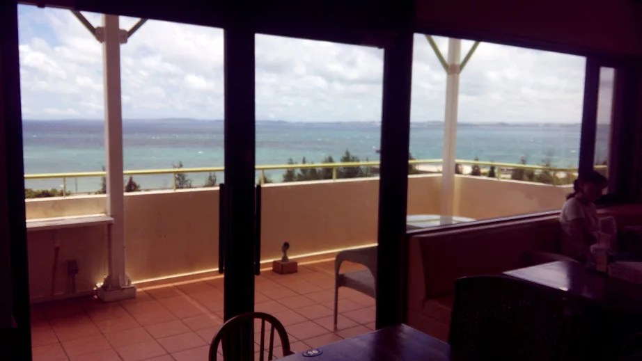View of the sea in Okinawa seen from inside the shop