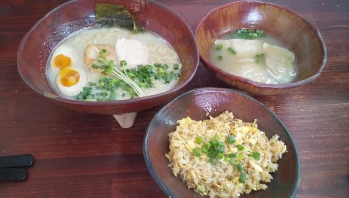 Paitan ramen, water dumplings, fried rice A set