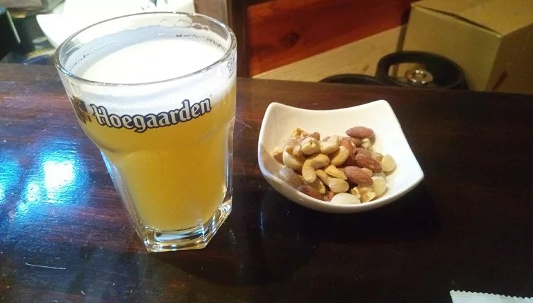 Nuts and Hoegaarden Beer