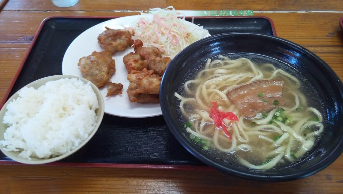 chicken deep-fried set meal with Okinawa soba