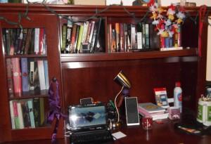 Desk Shelves, Books And Wine