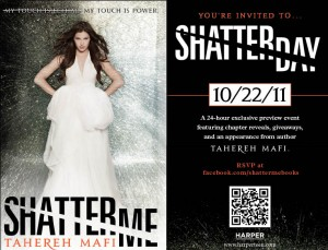 Shatterday, Tahereh Mafi, Shatter Me, event, chapters, mobile code