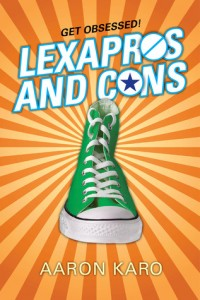 Lexapros And Cons, Aaron Caro, Book Cover, Orange, Green Chuck Taylor, Green Cons
