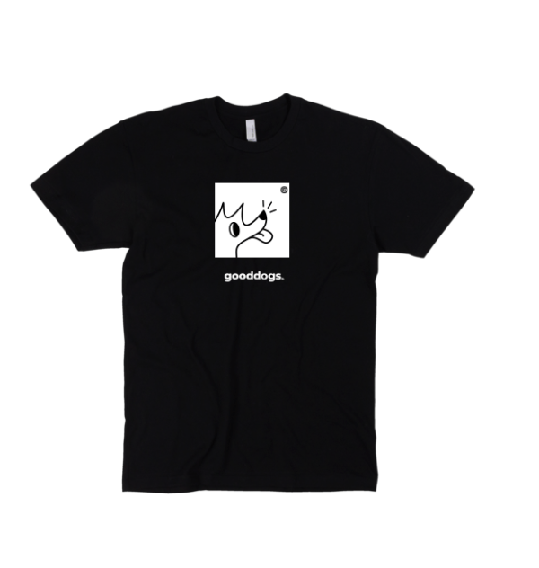 Black t-shirt with dog on chest graphic with Gooddogs under it