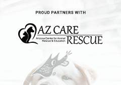A banner showcasing our involvement with AZCare Rescue.