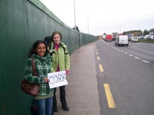 irish women hitchhiking