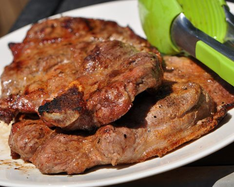 grilling pork shoulder steaks