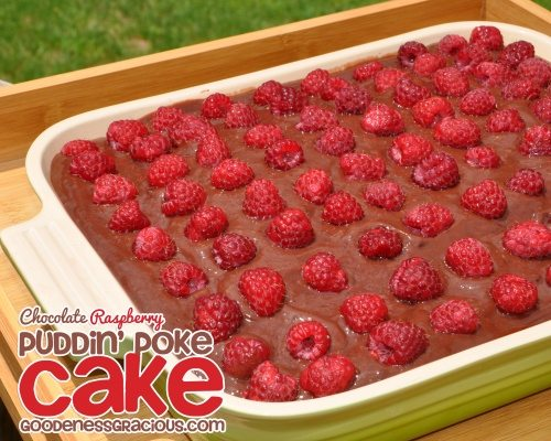 Chocolate Raspberry Poke Cake