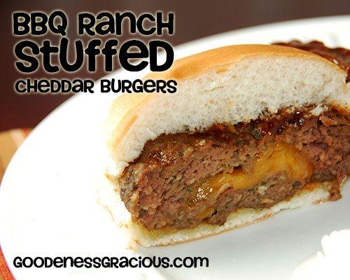 BBQ Ranch Stuffed Cheddar Burgers