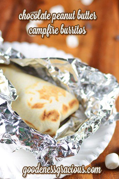 Chocolate Peanut Butter Campfire Burritos