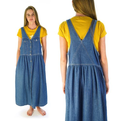 Button Down Denim Dress with Pockets Size Small Vintage 90s