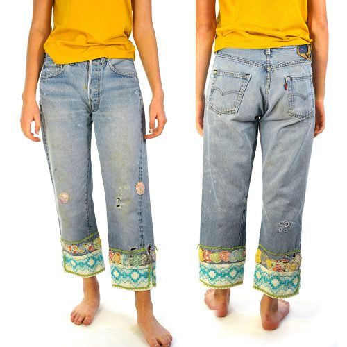 Vintage 70s Levi's 501 Jeans Distressed & Altered with Boho Patchwork