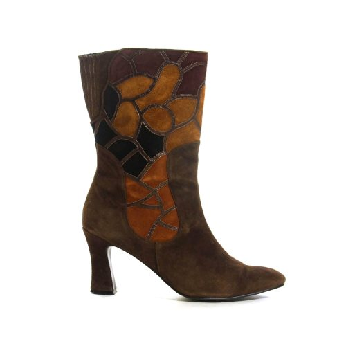 Brown Patchwork Suede High Heel Ankle Boots Size 8.5 Vintage 80s